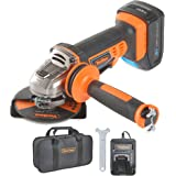 VonHaus Meuleuse d'angle Max 20 V — Disqueuse ergonomique avec poignée antivibrations — Disque, batterie, chargeur et sac à outils inclus