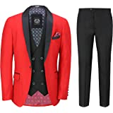 Xposed Mens 3 Piece Tuxedo Suit Formal Dinner Jacket Wedding Tailored Fit Red Blazer Waistcoat Trouser