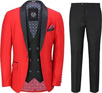 Mens 3 Piece Tuxedo Suit Formal Dinner Jacket Wedding Tailored Fit Red Blazer Waistcoat Trouser