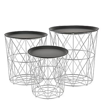 Beistelltisch metall  en.casa]® Zeitlose Metallkörbe im 3er Set geeignet als ...