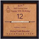 Suyi Morse Code Bracelet Cadeaux d'anniversaire pour Les Femmes Bracelet en Argent Sterling Bijoux d'anniversaire pour 12 13