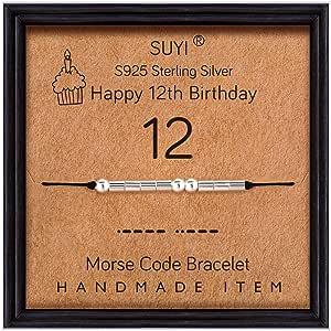 Suyi Morse Code Bracelet Cadeaux d'anniversaire pour Les Femmes Bracelet en Argent Sterling Bijoux d'anniversaire pour 12 13 14 15 16 17 18 19 20 21 25 30 40 50 60 70 80