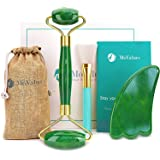 Originele Groene Jade Gezichtsroller en Gua Sha Set – Jade Gezichtsmassage Roller Multifunctioneel: 100% Echte Jade, Gecertif