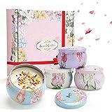 ASANMU Bougie Parfumées pour Femme, Candle Aromatique Boîte Cadeau 4 Canettes,Idee Cadeau Femme, Cire de Soja Naturelle, Ense