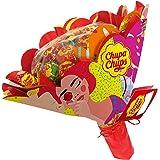 Chupa Chups - Bouquet de Sucettes Composé de 19 Sucettes - Parfum Fraise, Orange, Pomme, Cerise, Pastèque, Citron - Cadeau Or