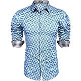 COOFANDY Men's Casual Slim Fit Dress Shirt Long Sleeve Formal Shirt Button Down Check Shirts Men Top