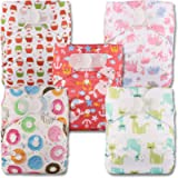 Littles & Bloomz, Reusable Pocket Cloth Nappy, Fastener: Hook-Loop, Set of 5, Patterns 501, with 5 Bamboo Charcoal…