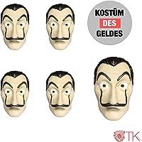 TK Gruppe Timo Klingler 10x Maske Kostüm Haus des Geldes Verkleidung casa del Papel Bella Ciao Haus für Herren, Damen…