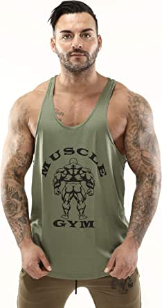 MUSCLE GYM Mens Vest Tank Top, Low Cut Gym Stringers Bodybuilding Army Green