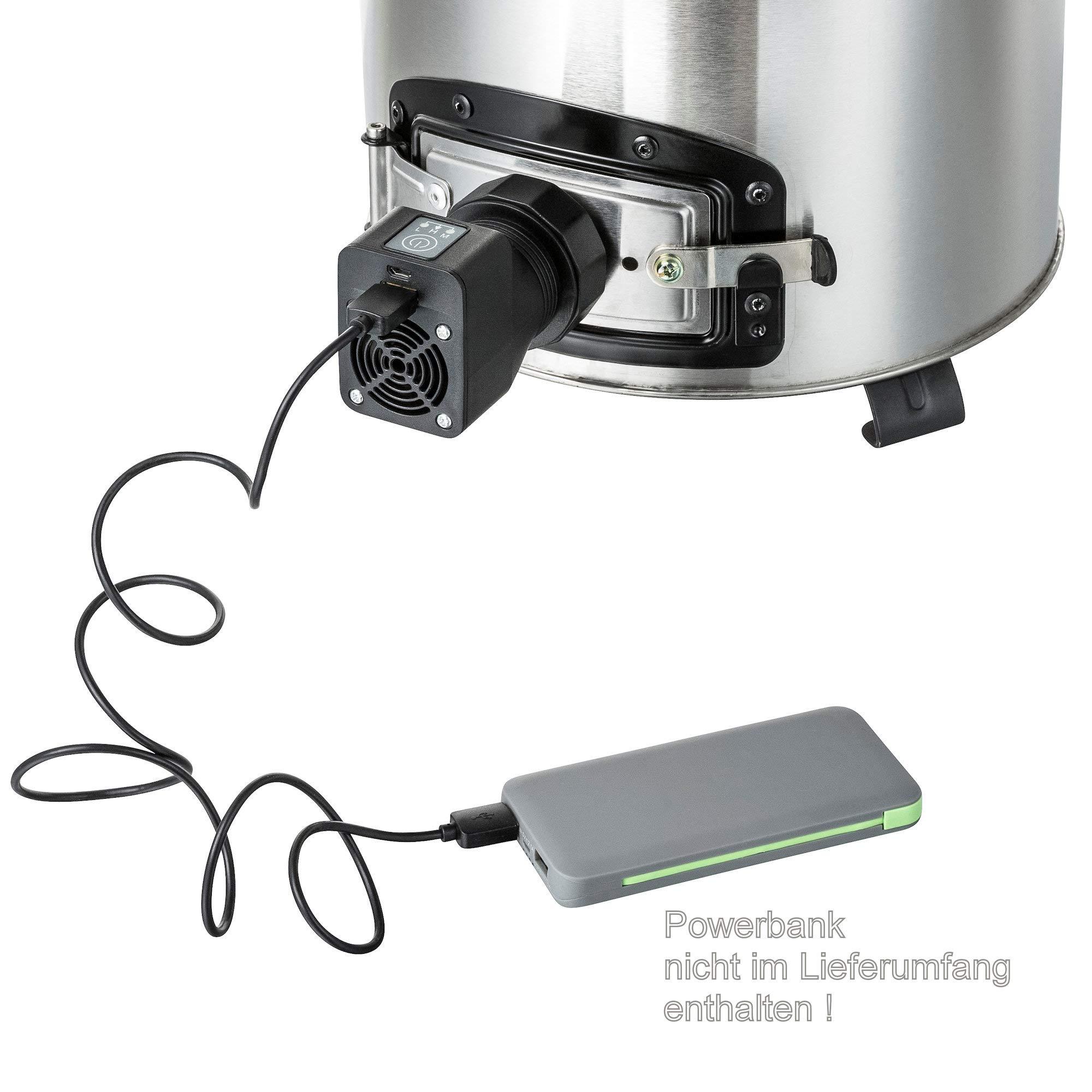 Grillpfannen und vieles mehr   BBQ-Toro Raketenofen Rakete #3 Edelstahl Rocket Stove f/ür Dutch Oven USB Gebl/äse