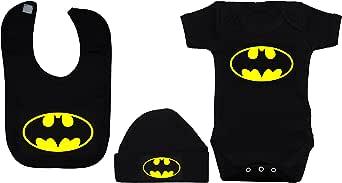 Body bébé Chauve-Souris/Barboteuse/Gilet/T-Shirt, Bavoir et Beanie Hat Set Batman Noir 0- à 12 Mois