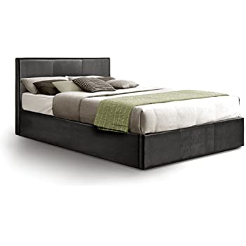Ottoman Double Storage Bed Upholstered in Faux Leather, 4ft 6, Black ...