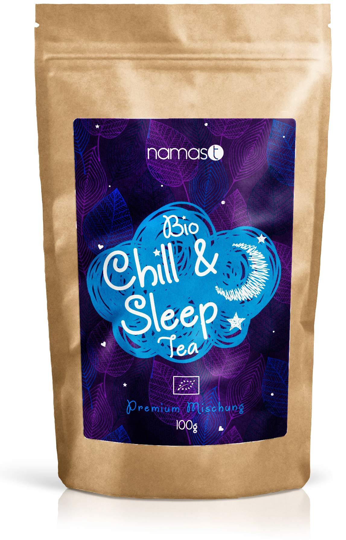 Chill-Sleep-Tea-BIO-100g-Abendtee-Entspannungstee-biologische-Spitzenqualitt-Loser-Kruter-Tee-mit-Baldrian-Lavendel-Johanniskraut-Passionsblume-Hopfenblten-etc-Made-in-Germany