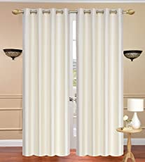 Plain Curtains for Door 7 Feet Set of 2, Cream