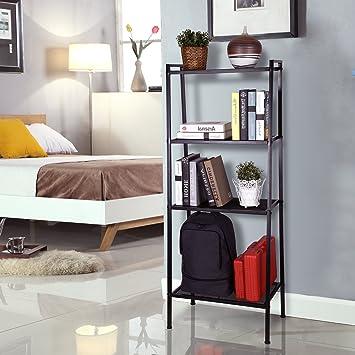 homfa etagre de rangement meuble de rangement etagre metal avec 4 tablette pour chambre cuisine salon dpt 6035147cm noir amazonfr cuisine - Tablette Noir De Salon