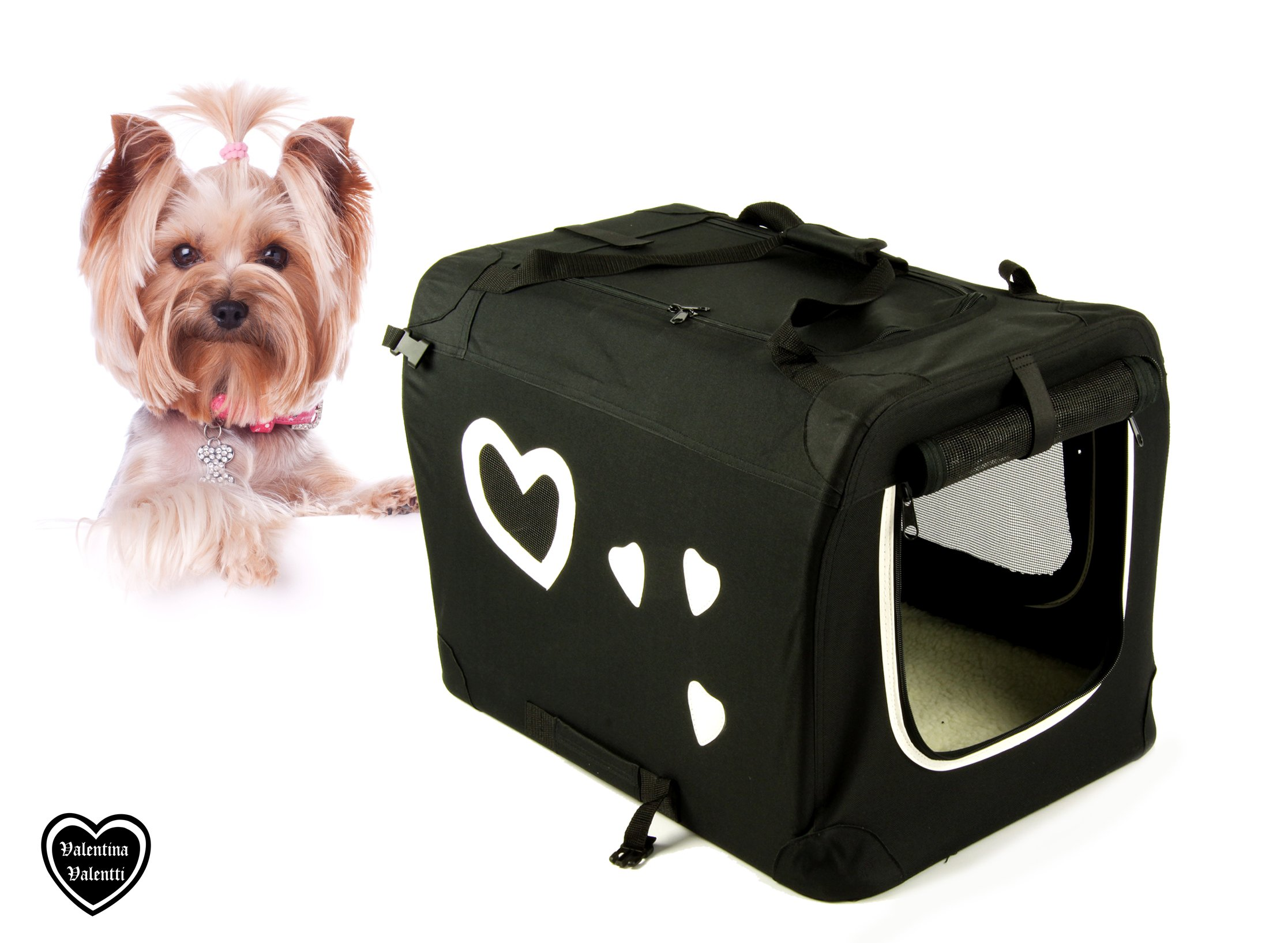 PET FOLDING CARRIER TRANSPORT CRATE FOR S/M SIZE DOGS AND CATS, M SIZE