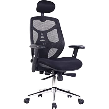 Eliza Tinsley Mesh High Back Executive Swivel Desk Armchair with Chrome Base - Black
