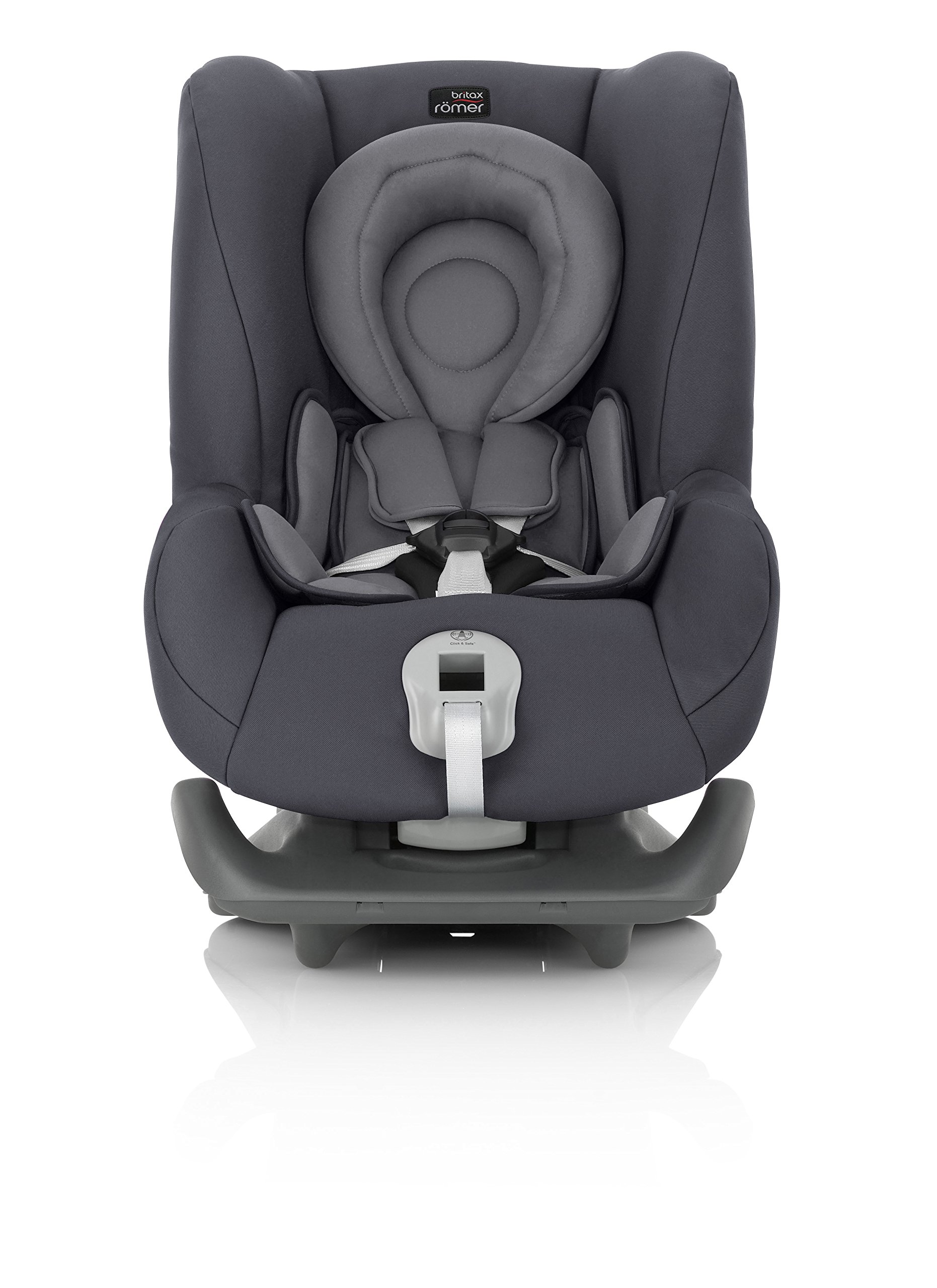 Britax Römer FIRST CLASS PLUS Group 0+/1 (Birth-18kg) Car Seat - Storm Grey  Extended recline position when rearward facing - the safest way to travel Reassurance built-in - Click and safe harness tensioning confirmation High quality protection - side impact protection Plus performance chest pads and pitch control system 3