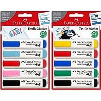 Faber-Castell 159530 - Pennarello per tessuti, confezione da 5 (Baby Party + colori standard)