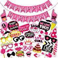 WOBBOX Ninth Birthday Photo Booth Party Props Pink for Baby Girl with 9th Birthday Bunting Banner for Baby Girl in Pink, 9th