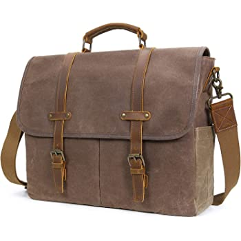 Lifewit 15.6 Inch Water-proof Waxed Canvas Laptop Messenger Bag Vintage  Leather Satchel Cross-body Bag Computer Briefcase (15.6   Coffee-New) 0cd5f154f3b07