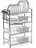 WINSTAR Stainless Steel 4 Shelf Wall Mount Kitchen Utensils Rack | Dish Rack with Plate & Cutlery Stand | Modular…
