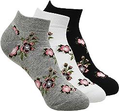 Balenzia Women's Floral Design Low Cut Socks- Blakc, White, L.Grey