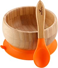 Avanchy Baby's Organic Bamboo Stay Put Suction BPA-Free Silicone Bowls Feeding Set and Soft Tip Spoon (Orange)