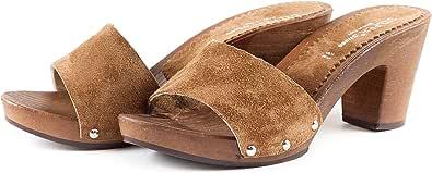 Silfer Shoes - Zoccolo in Pelle Scamosciata, Colore Cuoio, Art. Noemi