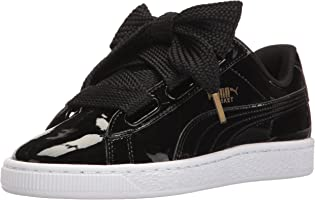 PUMA Women's Basket Heart Patent Wn's Sneaker, Puma Black-Puma Black, 7 M US