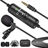 TARION Lavalier Microfoon Omnidirectionele condensatormicrofoon met voorruitschuif en 6 m kabel voor mobiele telefoon, laptop