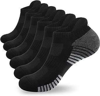 Anqier 6 Pairs Running Socks, Cushioned Trainer Socks for Men Women Ladies Ankle Sports Socks Cotton Low Cut Walking Socks
