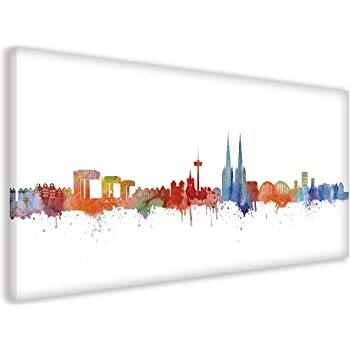 Köln Skyline Stadt Weiss by DiChyk (Div. Größen) - Kunst Druck auf Leinwand - Bild fertig auf Keilrahmen ! Graffiti Like Banksy Art Gemälde Kunstd (60x120cm)