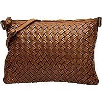 SH Leder Vintage Geflochten Umhängetasche Clutch mittelgroße Tasche Abendtasche Geflochtene Premium Rindsleder Echtleder…