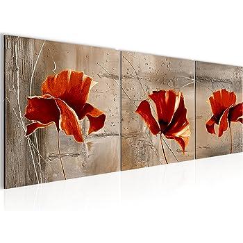 Murando   Handbemalte Bilder Auf Leinwand Blumen 60x40 Cm   3 Teilig    Leinwandbilder   Wandbilder XXL   Kunst   Wandbild   Mohnblumen ...