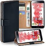 moex Samsung Galaxy S5 Mini | Hülle Schwarz mit Karten-Fach 360° Book Klapp-Hülle Handytasche Kunst-Leder Handyhülle für Samsung Galaxy S5 Mini Case Flip Cover Schutzhülle Tasche