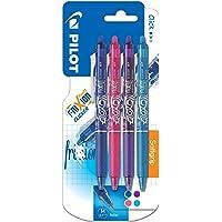 Pilot - Blister 4 FriXion Ball Clicker 0.7 - Roller effaçable - Bleu/Rose/Violet/Turquoise - Pointe moyenne