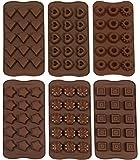 ZOLLNER24 stampo in silicone per cioccolatini, 6 forme diverse, marrone