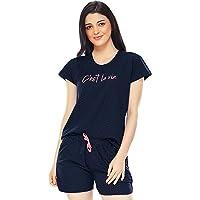 ZEYO Women's Cotton Dot Printed Night Suit Set of Top & Shorts 5228