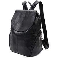 Fanspack Schwarz Leder Rucksack Damen Schwarz Elegant Rucksack Damen wasserdichte Tasche Anti-Diebstahl Daypack…