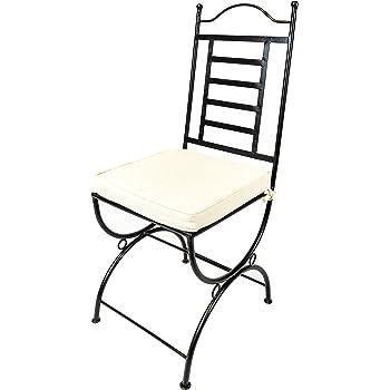 Original Orientalischer Stuhl Gartenstuhl Aus Metall Schwarz La Linea |  Marokkanischer Balkonstuhl Inkl. Sitzkissen Stuhlkissen | Eisenstuhl Als  Bistrostuhl ...