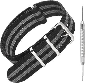 Sniper Bay® Nato Bracelet de montre en nylon, style militaire et plongeur, 18 mm, 20mm, 22mm, 24 mm