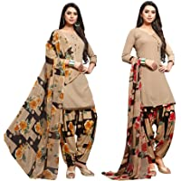 Ethnic Junction Women's Crepe Printed Unstitched Dress Material (Combo Pack Of 2) (Multicolor)