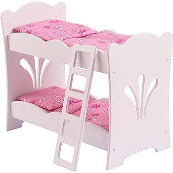 0d9247f3ffcda8 KidKraft 60130 Lits supperposés en bois blanc Lil  Doll avec parure de lit  rose pour