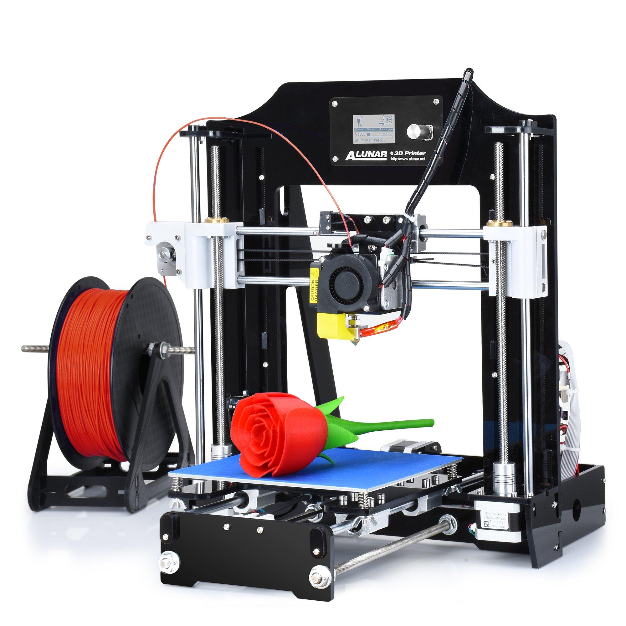 ALUNAR DIY 3D Haute Précision Imprimante Acrylique Reprap Prusa I3 avec 1,75 mm Impression 3D Filtre PLA,