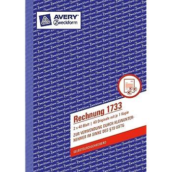 Avery Zweckform Formularbuch Quittung Kleinunternehmer weiß A6 2x40 Blatt Beleg
