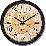 Amazon Brand - Solimo 12-inch Plastic & Glass Wall Clock - Grand Voyage (Silent Movement), Black