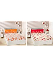 Amazon Brand - Solimo 144 TC Cotton Double Bedsheet with 2 Pillow Covers