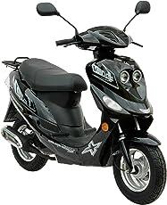 City Roller 4-Takter GMX 550 Mofa ohne Führerschein wenn vor 1.4.1965 geboren Moped 25 km h / Mofaroller Schwarz 2,4 KW / 3,3 PS / Luftgekühlt / Alufelgen / Gepäckträger / Scheibenbremse / Motorroller Teleskopgabel Hydraulisch / Scooter ab 15 Jahren