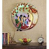 Urban Tree'Z Radha Krishna on Swing Multicolour Metal Wall Art (22 in)